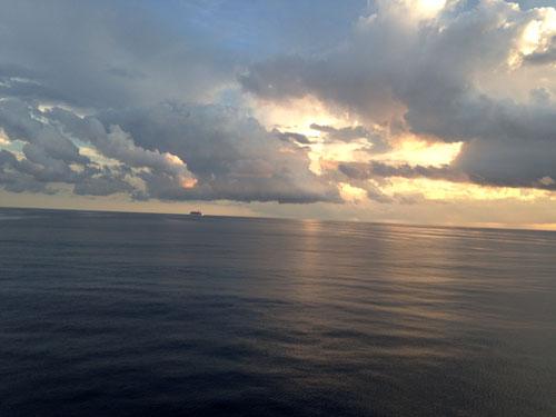 Cruise ocean sunset